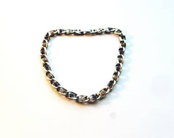 Vintage Silver Large Links with Clear and Blue Crystal Rhinestones Bracelet Size 9 1/2
