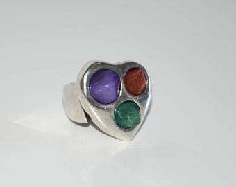 Silver plated ring, vintage heart ring with colorful resin, special design,very good quality