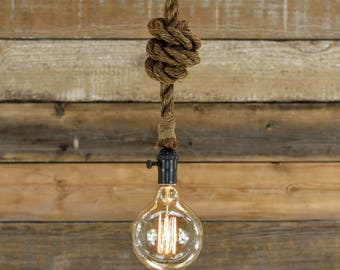 The Badger Pendant Light - Industrial Rope Lighting - Swag Ceiling Lamp - Rustic Accent Hanging - Edison Bulb chandelier