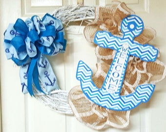 Nautical Grapevine Wreath, Anchor Welcome White Grapevine Wreath,