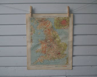 1928 Vintage Map of England