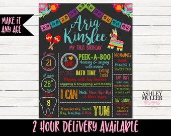 Fiesta First Birthday Chalkboard - Custom Sign - Colorful -Spanish 1st Birthday Chalkboard- Pinata - Mexican - Bday Sign -  Party- Printable