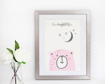 Bear Art Print -  Penguin Art - Silver Foil Print - Bear Nursery Art  - Nursery Decor - Metallic Nursery Art