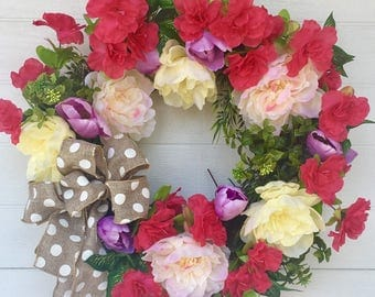 Summer Wreath For Front Door,Summer Wreath, Everyday Wreath, Front Door Wreath, Cottage Wreath, Peony Wreath, Boxwood Wreath, Wreaths