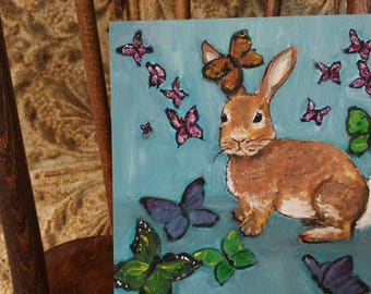 Rabbit  painting, bunny floral, fantasy butterflies,  painting 8x8 original on canvas panel