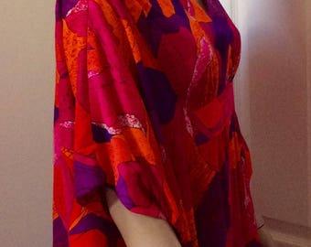 1960s bright Hawaiian barkcloth caftan S-M