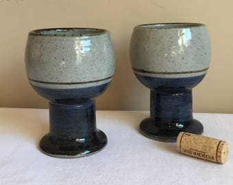 Vintage Handmade Stoneware Pottery Wine Goblets Chalices Pair, blue gray brown pottery Stemmed Glasses/Goblets, French Country Wine Goblets