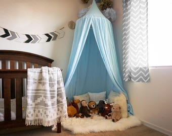 Large size Play canopy in baby blue cotton/ hanging tent/ hanging canopy