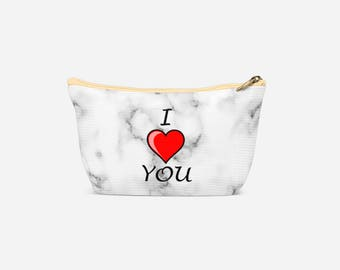 White Marble I Love You Print Stylish and Unique Wash Bag Valentines Gift Idea for Her, Cosmetic Make Up Bag, Pencil Case, Travel Bag