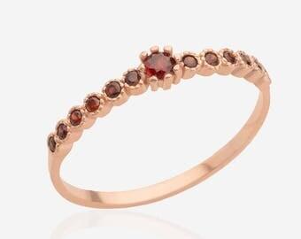 Garnet ring 14k rose gold stacking ring gemstone ring multistone ring birthstone ring red stone ring rose gold women jewelry