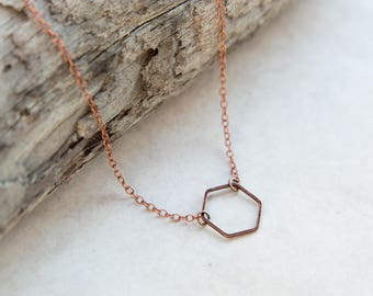 Copper Hexagon Necklace, Dainty Necklace, Gift For Her, Geometric Necklace, Honeycomb Necklace, Copper Necklace, Boho Jewelry, Holiday Gift