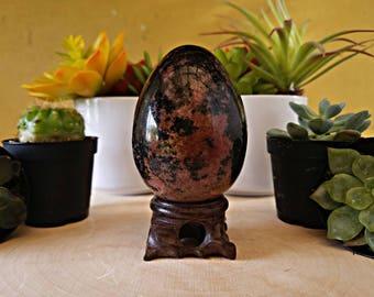 Rhodonite Crystal Egg w/ Stand