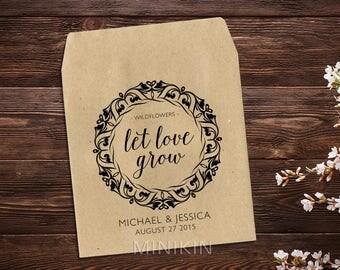 Wedding Seed Packets, Rustic Wedding Favor, Seed Packet Favor, Wedding Favors, Let Love Grow Favor, Personalized Favor, Seed Favor x 25