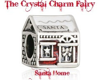 """Holiday CHRISTMAS SANTA'S Home """"It's Always Warm"""" Red and Silver Charm Bead Fits / Large Hole / Pandora / European / Bracelets / Necklace"""