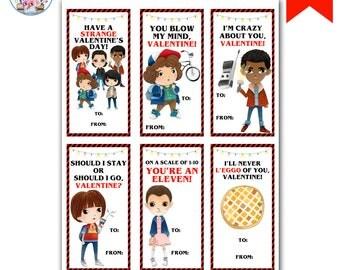 Stranger Kids Valentines, Stranger Valentine's Day Cards, Strange Valentine's Cards