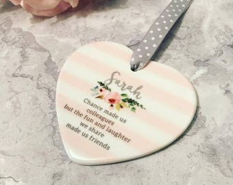 Personalised Chance made us Colleagues Ceramic Heart - Friendship Gift - Friends - workmates