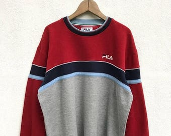 20% OFF Vintage Fila Pullover Sweater / Fila Big Logo / Fila Color Block / Fila Sweater / Fila Tennis Shirt / Fila Italia