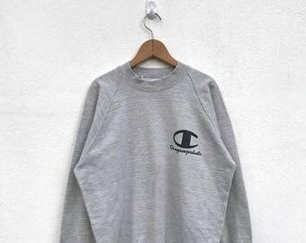 20% OFF Vintage Champion Sweatshirt/Champion Sweater/Champion Clothing/Champion Spellout/Champion Big Logo/Champion USA