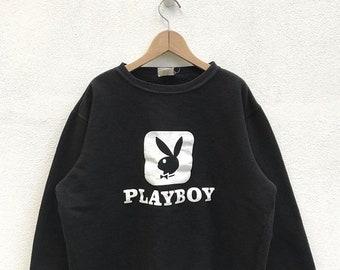 20% OFF Vintage Playboy Big Logo Sweatshirt / Playboy Sweater / Playboy Jumper / Playboy Black Sweater