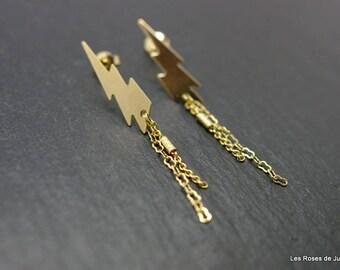 Earrings graphic lightning gold earrings