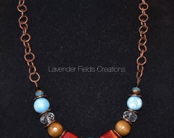 Boho Glass Wood and Ceramic Bead Chain Necklace (20187N)