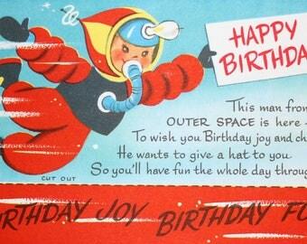 Vintage happy birthday space boy card