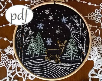 embroidery pattern - Christmas Landscape - Christmas pdf pattern - embroidery kit - embroidery hoop art  - Deer Embroidery design -