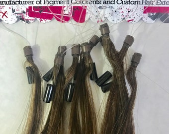 Medium Brown Micro Loop Remy Micro Bead and Loop Human Hair Cold Fusion Tip Hair Extensions 10 Strands .5 gram per Strand 19 inch Highlights
