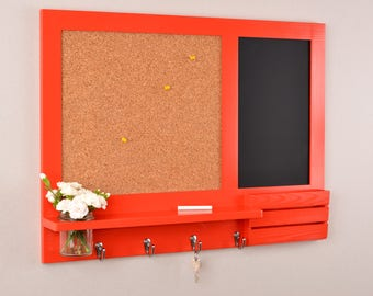 Red Chalk Board - Cork Board - Message Center - Noticeboard - Key Hooks - and Mail Organiser