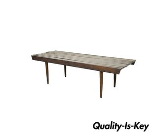 "48"" Vintage Mid Century Modern Walnut Slat Bench Coffee Table Nelson Danish Style"