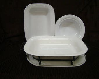 "Corning Ware Embossed White Flora 10"" Rd, 13"" & 15"" Rectangle Casseroles~Elegant 1995-1998 Cook and Serve"