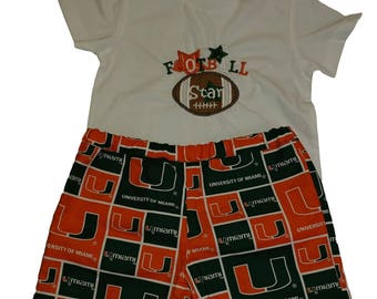 UM Boys outfit Football boys outfit University Miami boy outfit Boys clothes Boys Hurricanes outfit Boys shorts Boys shirt shorts