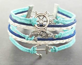 Mermaid Bracelet, Anchor Bracelet, Nautical Bracelet, Mermaid Jewelry, Mermaid Gifts, Anchor Jewelry, Ocean Bracelet, Beach Bracelet