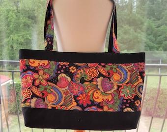 Fabric tote bag multicolored top and bottom black, lined black polka dot orange bag unique