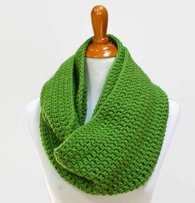 Kelly Green Infinity Scarf Crochet Scarf Crocheted Scarves Circle