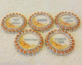 Bridal Party Wedding Pins, Swarovski Rhinestones Bride, Matron of Honor, Maid of Honor, Bridesmaid, Flower Girl Wedding Shower Bouquet Pins