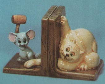 Ceramic Bisque U-Paint Set Of 2 Cat and Mouse Bookends Left And Right Unpainted Ready To Paint DIY