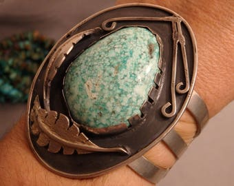 Giant 104G Old ZUNI Natural Carico Lake TURQUOISE STERLING Silver Squash Blossom Cuff Bracelet