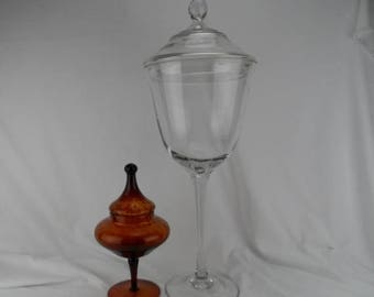 Summer Monumental Tall Covered Footed and Long Stemmed Compote Clear Handmade Glass