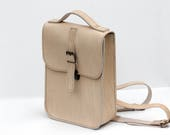 Hand Stitched Genuine Leather Backpack  Thick Cream