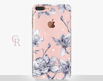 Floral iPhone 8 Plus Case - Clear Case - For iPhone 8 - iPhone X - iPhone 7 Plus - iPhone 6 - iPhone 6S - iPhone SE Transparent - Samsung S8