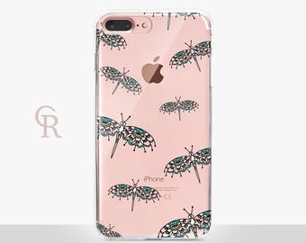 Dragonfly Phone Case - Clear Case - For iPhone 8 - iPhone X - iPhone 7 Plus - iPhone 6 - iPhone 6S - iPhone SE Transparent - Samsung S8 Plus