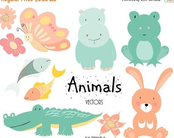 SALE Clipart,Commercial Use Clipart, Cute Animals Clipart, Nursery Animals Clip Art, Commercial Use, Digital Graphics, Animals Graphics