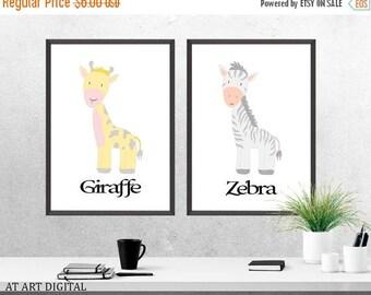 SALE Safari Nursery Art, Zebra Nursery Print, Nursery Art, Nursery Print, Kids Wall Art, Giraffe Print, Baby Boy Nursery