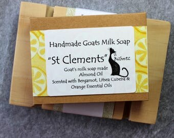 St Clements - Goats Milk Soap with Almond Oil, Scented with Bergamot, Litsea Cubeba & Orange Essential Oils