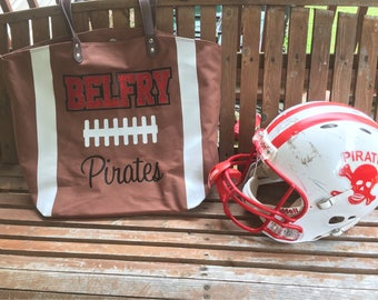 Personalized Football Tote Bag, Embroidered Football Tote,  Monogrammed Football Bag, Monogrammed Football Tote Bag, Football bag