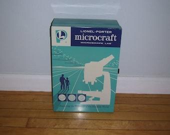 Microcraft Microscope Lab Metal Box Lionel-Porter Metal Storage Box 1960s Vintage