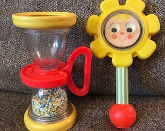 Lot 2 Vintage 1970's Fisher Price Baby Rattle Shaker Toys, Hourglass, Flower, 424 451, mirror