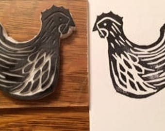 "Hand carved hen rubber stamp ""Josephine"""