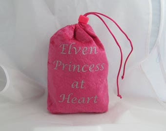 Dice Bag Pouch Velvet Dungeons and Dragons D&D RPG Role Playing Die Pink Elven Princess at Heart Reversible Lined